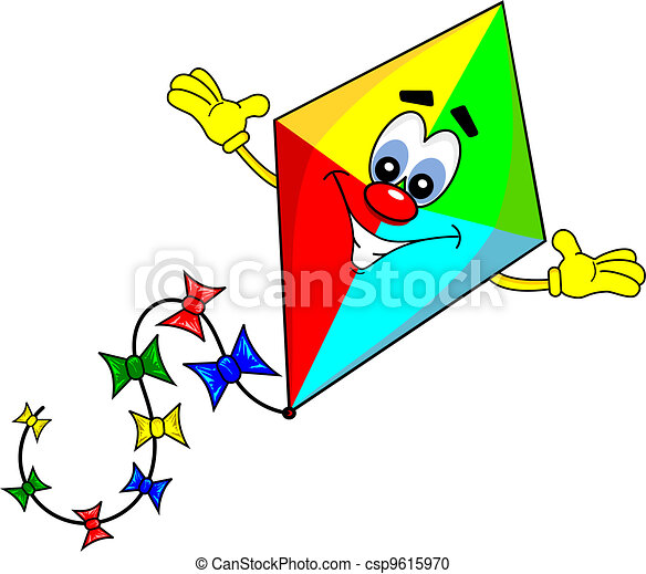 Vector Clipart Of A Cartoon Kite With Smiling Face On White Background Csp9615970 Search Clip Art Illustration Drawings And Vector Eps Graphics Images