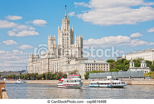 High-rise building on Kotelnicheskaya embankment in Moscow, Russia. - csp9616498