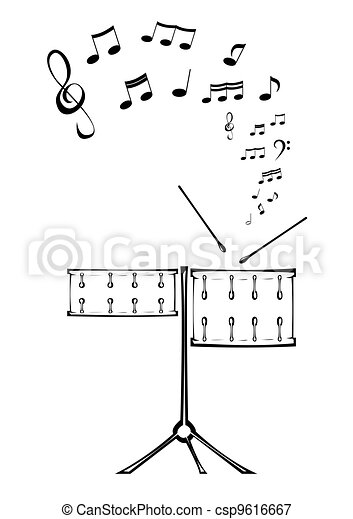 Drums and note. - csp9616667