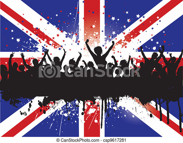 Grunge crowd on a Union Jack Flag background - csp9617281