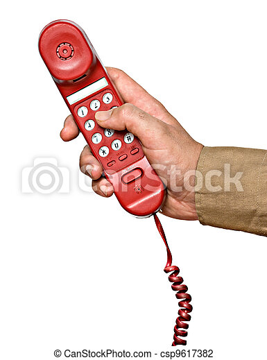 Red telephone handset in hand - csp9617382