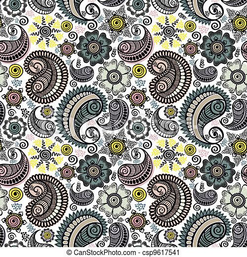 Seamless elegant paisley pattern - csp9617541
