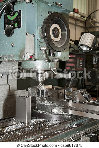 Drilling and milling CNC in workshop - csp9617875