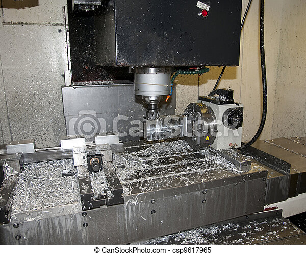 Drilling and milling CNC in workshop - csp9617965