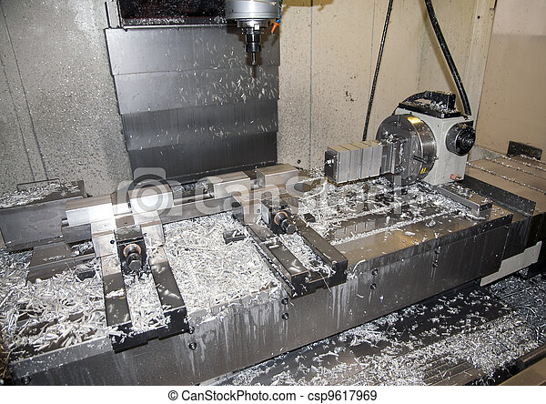 Drilling and milling CNC in workshop - csp9617969