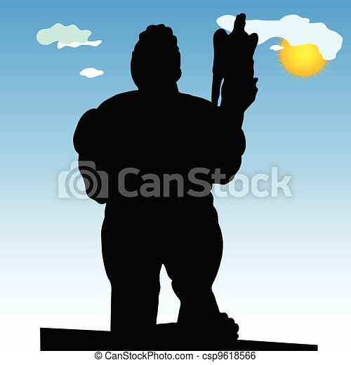monument of Belgrade winner in close silhouette vector - csp9618566