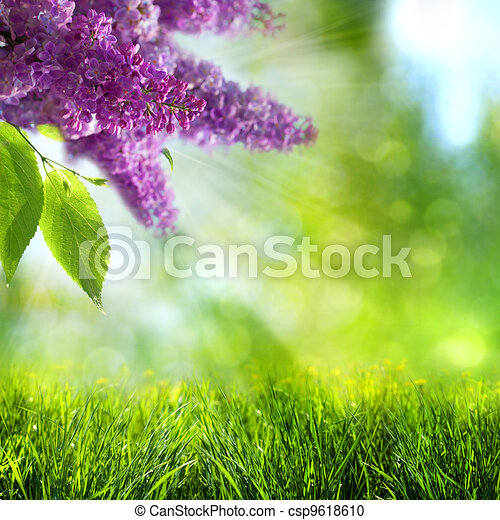 Abstract summer and spring backgrounds with lilac tree - csp9618610