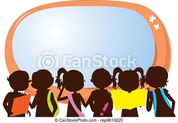children silhouettes education - csp9619220