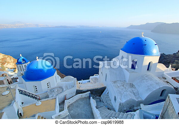 Blue domes of orthodox churches, Santorini, Greece - csp9619988