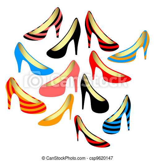 Women's shoes on a white background - csp9620147