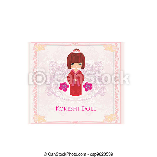 Kokeshi doll on the pink background - csp9620539