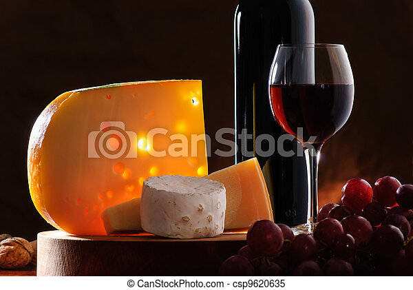 Still-life with cheese, grape and wine - csp9620635