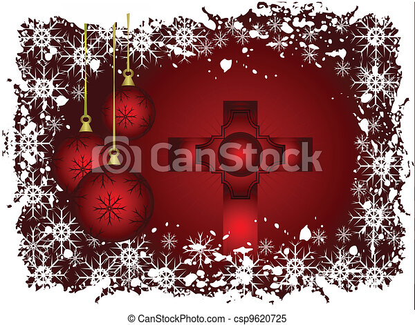 A christmas illustration with a red cross and baubles and a snowy border - csp9620725