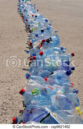 Line of empty plastic bottles for Recycling.