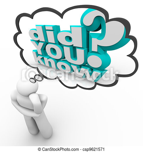 Did You Know Thinker Person Thought Cloud Words - csp9621571