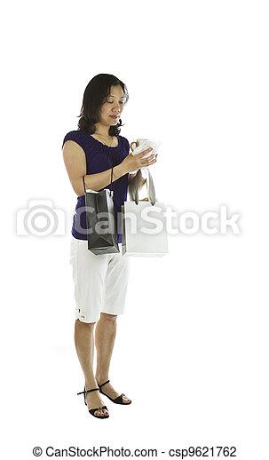 mulheres, Carregar, shopping, sacolas - csp9621762