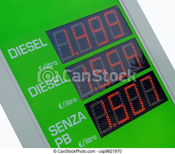 Gasoline price sign - Euro - csp9621970