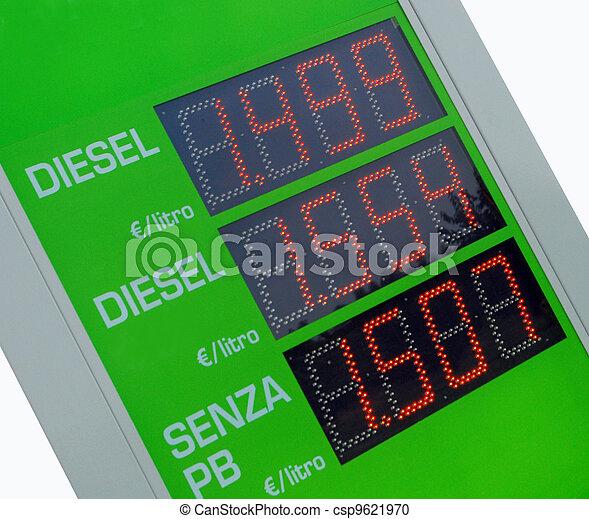 Gasoline price sign - Euro - csp9621970