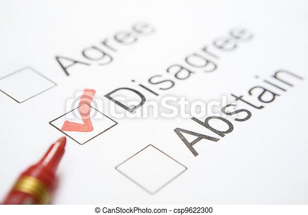 \'Disagree\' chosen