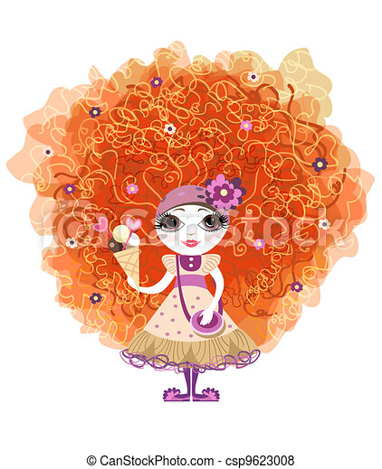 Vector Of Funny Girl With Red Hair And Ice Cream