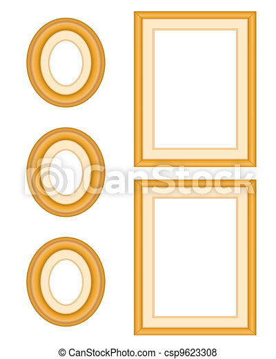 Vector of Picture Frame Gallery in Oak Wood - Wall gallery ...