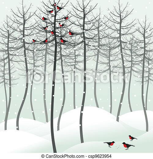 Bird in wood - csp9623954