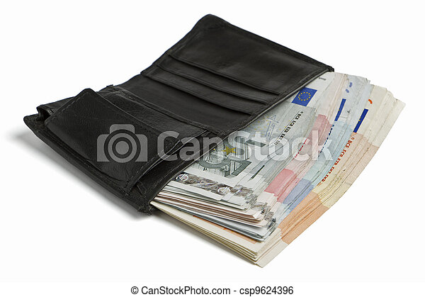 many banknotes in wallet - csp9624396