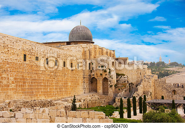Ancient city of Jerusalem, city of three religions - csp9624700
