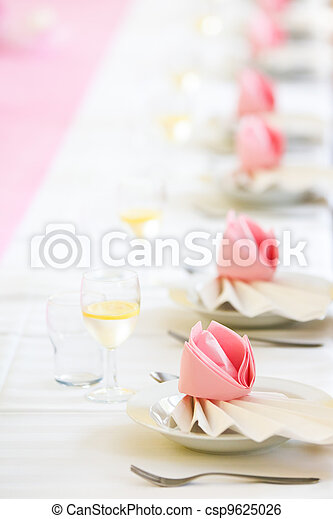 Conference or wedding dinner table - csp9625026