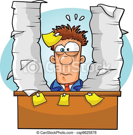 Vector of overwhelmed worker - worker overwhelmed by lots of paperwork ...