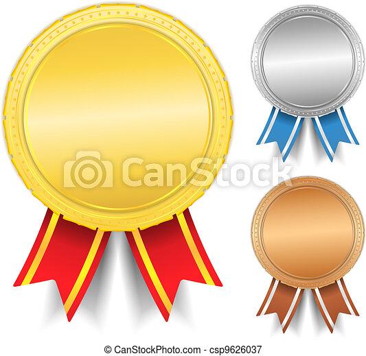 Golden, silver and bronze medals - csp9626037