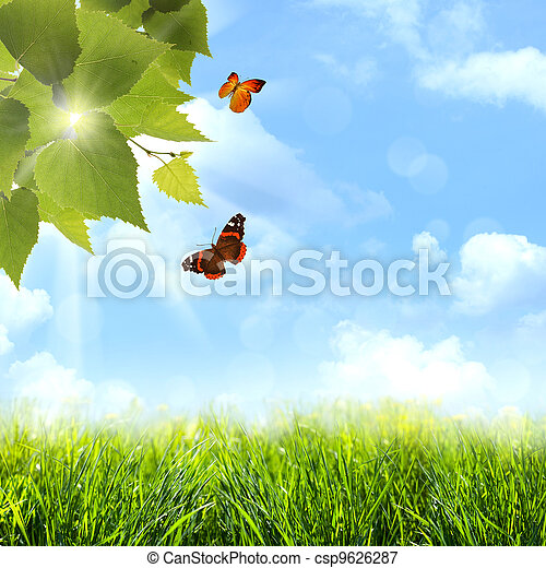 Under the blue skies. Abstract spring and summer backgrounds - csp9626287