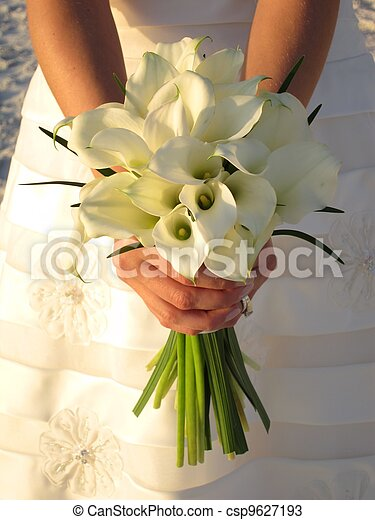 Stock Photos of Wedding bouquet - bride holds beautiful bouquet of white...