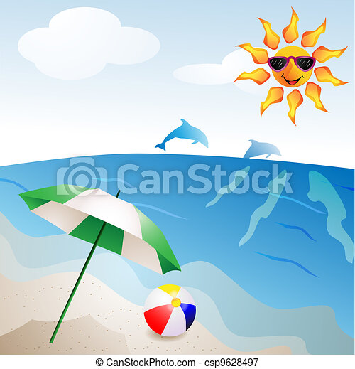 Beach with umbrella - csp9628497