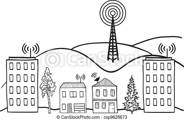 Illustration of wireless signal of internet into houses in city - csp9628673