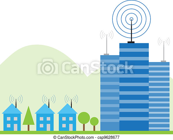 Illustration of wireless signal of internet into houses - csp9628677