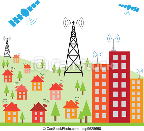 Illustration of wireless signal of internet into houses - csp9628690