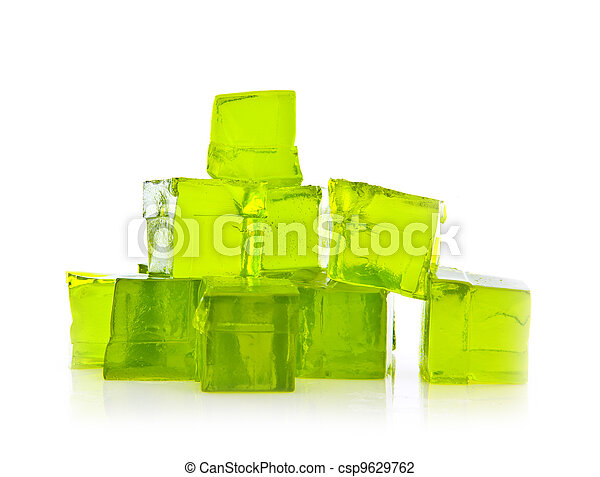 Cubes of Lime jelly on a white background - csp9629762
