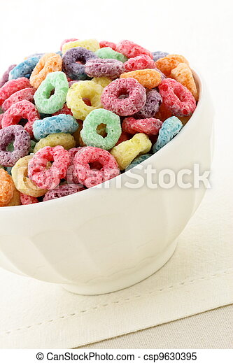 kids delicious and nutritious cereal loops or fruit cereal - csp9630395
