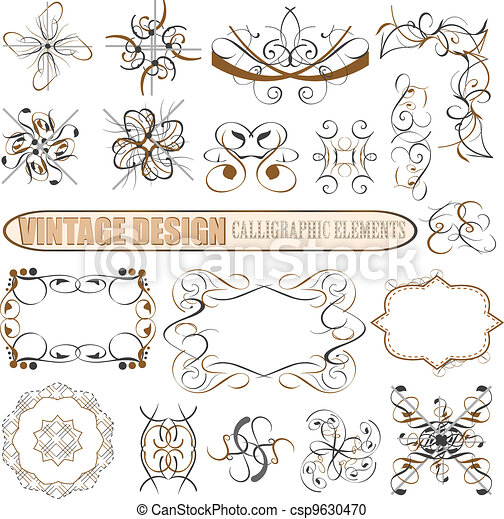Vector decorative design elements: page decor - csp9630470