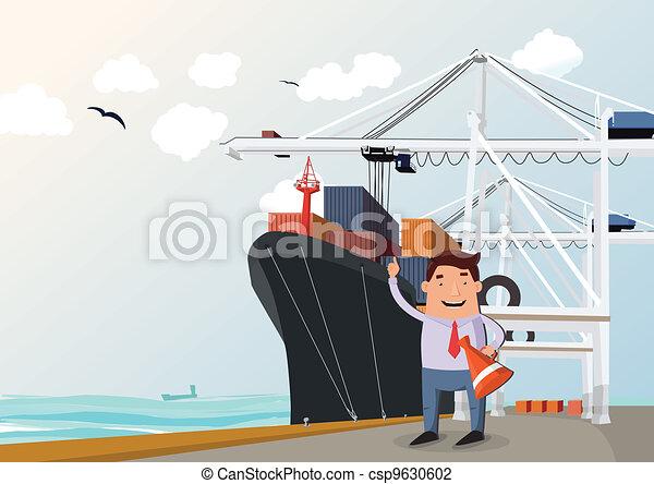 Cargo ship in port - csp9630602