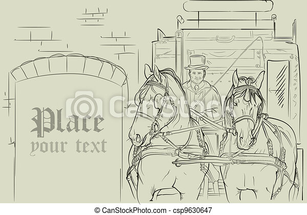 vector horses in carriage - csp9630647