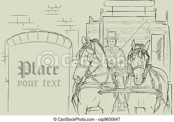 vector horses in carriage - csp9630647