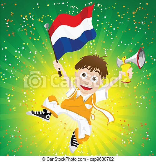 Dutch Sport Fan with Flag and Horn - csp9630762