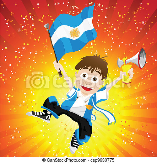 Argentina Sport Fan with Flag and Horn - csp9630775
