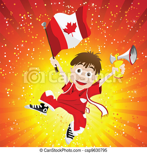 Canada Sport Fan with Flag and Horn - csp9630795