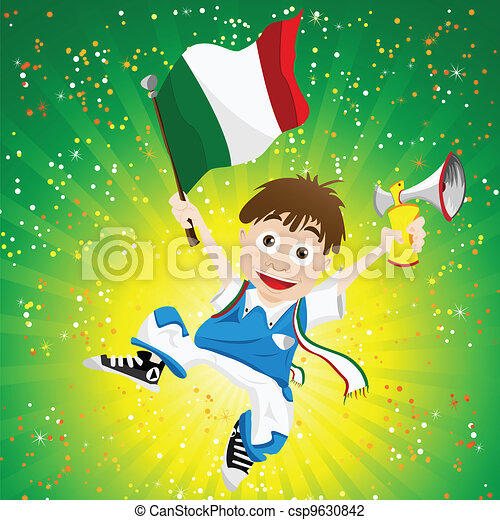 Italy Sport Fan with Flag and Horn - csp9630842