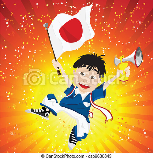 Japan Sport Fan with Flag and Horn - csp9630843