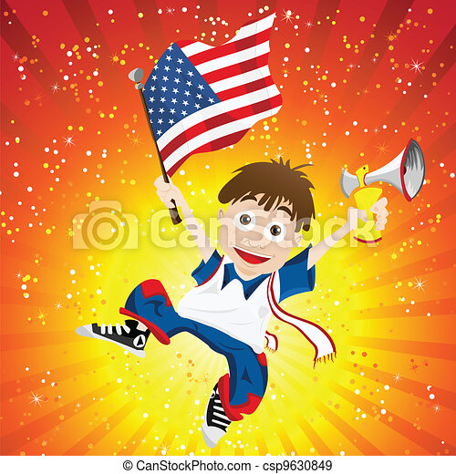 United States of America Sport Fan with Flag and Horn - csp9630849