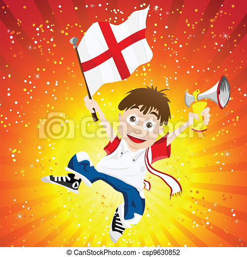 England Sport Fan with Flag and Horn - csp9630852